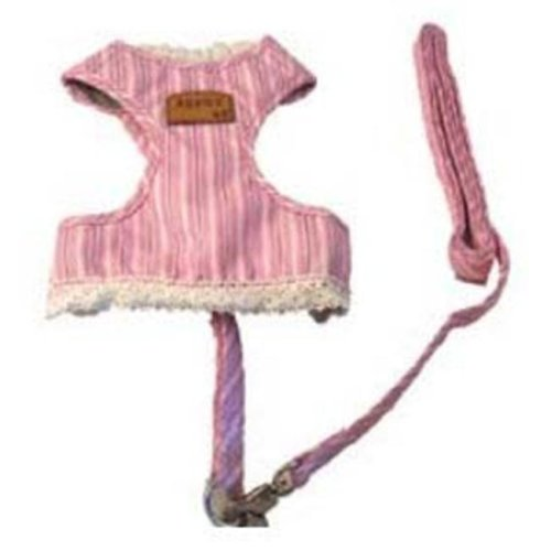 Creative Motion Industries 12689 Stripe Dog Cloth with a Leash-Pink