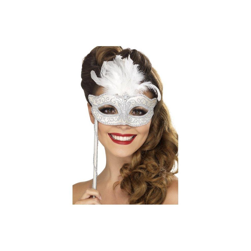 Ladies ¾ /& Glass Frame Masquerade Fancy Dress Black Decorative 3//4 Eye Mask