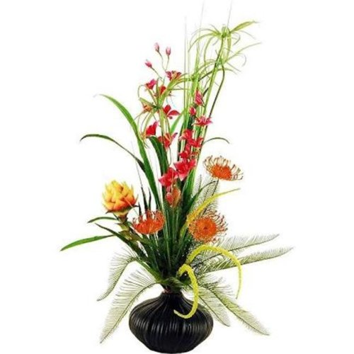 Designs by Lauren 16F16 36 in. Tropical Garden with Proteas & Butterfly Orchids with Cypress Grass in an Embossed Ceramic Vase