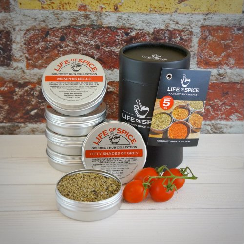 Life of Spice Gourmet Rub Collection - Memphis Belle, Fifty Shades of Grey, Much Adobo About Nothing, Pepper Smurf and Rub Me Tender