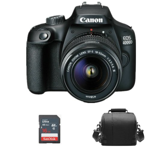 Canon EOS 4000D Camera Bundle With Lens, Camera Bag & 16GB SD Card
