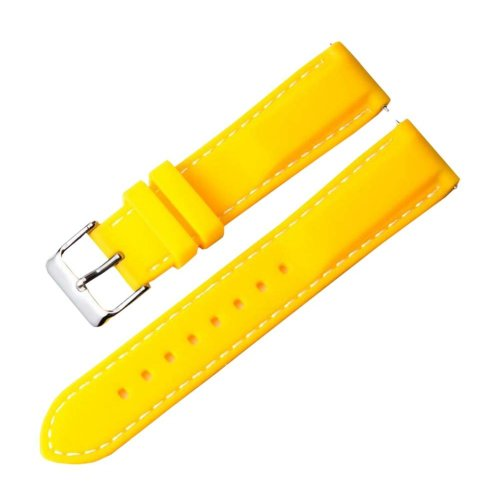 Silicone Watch Wrist Replacement 22MM Comfortable Watch Strap Watch Band Yellow