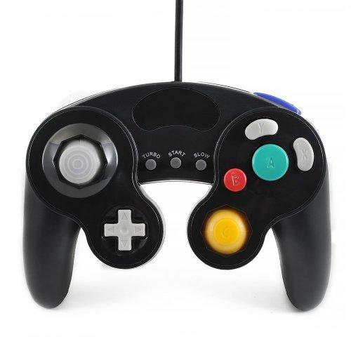 Qumox black wired classic controller joypad gamepad for nintendo gamecube gc & wii (Turbo Slow Feature)