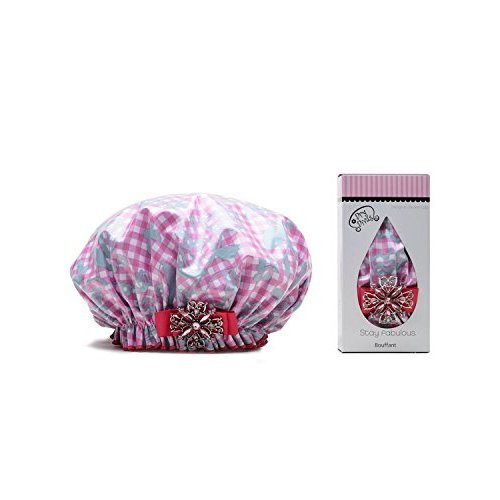 Dry Divas Designer Shower Cap For Women Washable Reusable Large Bouffant Cap With Vintage Jeweled Brooch Glorious Gingham