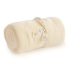 Cot Bed Cotton Cellular Blanket Cream