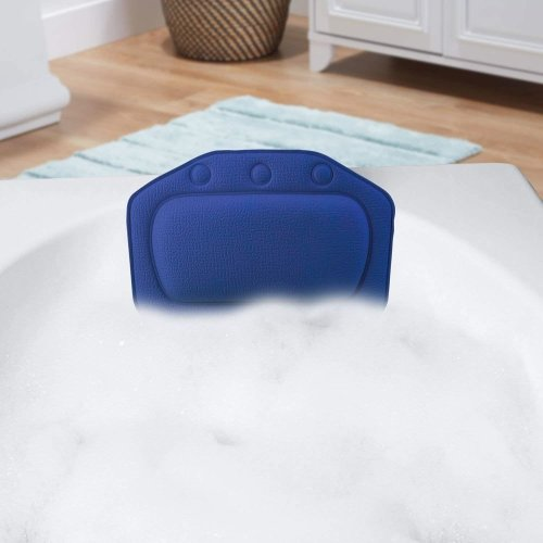 Taylor & Brown Relaxing Bath Pillow with Strong Suction Cups Spa Headrest Waterproof Cushion for Bathtub Bathroom (Navy Blue)