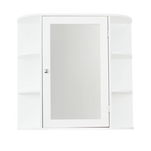 White Wooden Bathroom Mirrored Mirror Cabinet