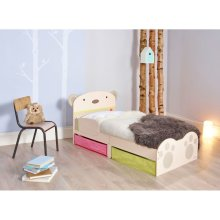 Worlds Apart Toddler Bed with Drawers Bear Hug Beige WORL230011