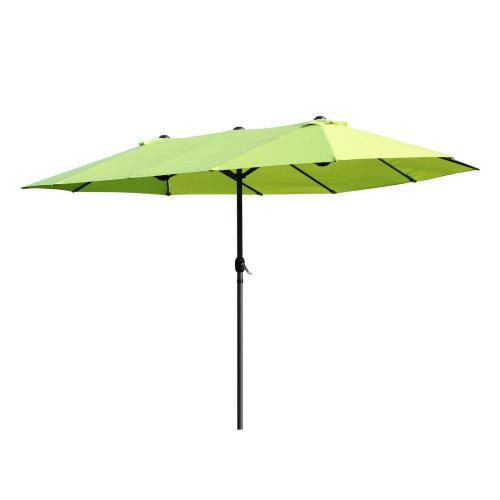 Outsunny 4 6m Double Designed Sun Umbrella Patio Shade Large Garden Parasol Canopy Market Outdoor Beach Lime Green On