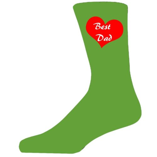 Best Dad in a Red Heart on Green Socks, Lovely Birthday Gift. Adult size UK 6-12. Ideal for a Christmas, birthday or anytime gift.