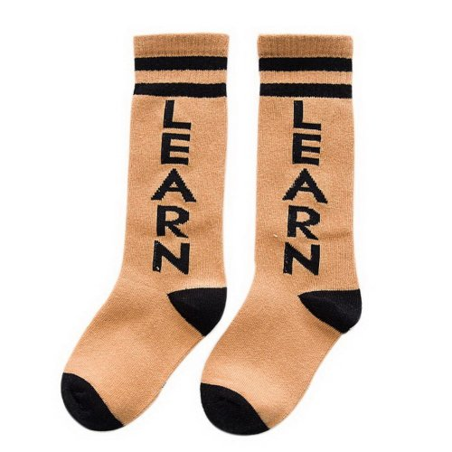 Comfortable Soft Children's Sports Long Socks, Dark Yellow English Letters