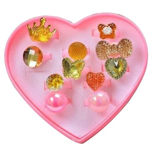 Shiny Plastic Girls Toy Rings, Princess Dress Up [Gold]
