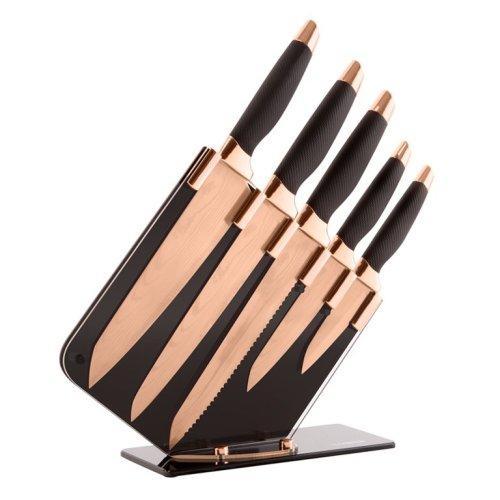 5pc Tower Damascus Knife Set | Rose Gold & Black Kitchen Knives