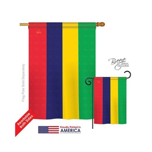 Mauritius 2-Sided Vertical Impression House Flag - 28 x 40 in.
