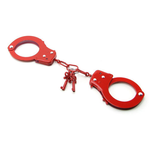 Metal Handcuffs Red  BDSM Hand cuffs - Fetish Fantasy Series