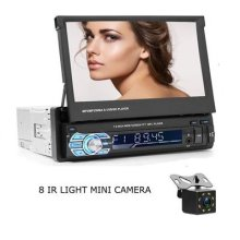 Camecho 7' Touchscreen Car Player 1 Din In Dash Head Unit Bluetooth Radio MP5 + 8 IR CCD Mini Camera for Car