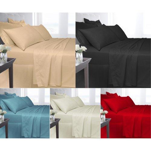 Egyptian Cotton Satin Stripe 250 Thread Flat Bed Sheet Linen On