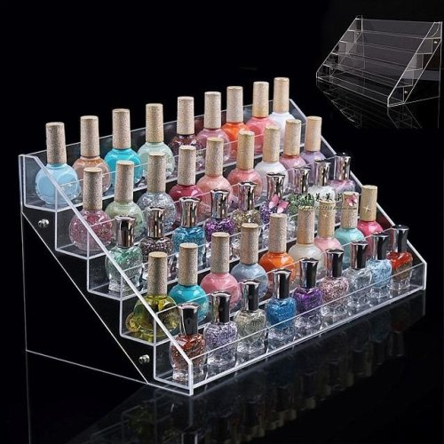 Large 5 Tier Acrylic Nail Polish Stand | 65 Nail Varnish Retail Display