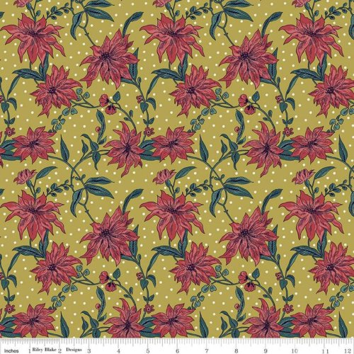 Fat Quarter Liberty Christmas Poinsettia Red Cotton Quilting Fabric