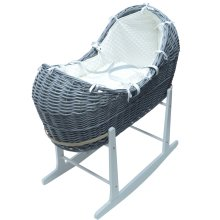 Cream Dimple Grey Wicker Moses Basket Pod And White Rocking Stand