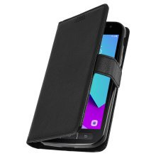 Flip wallet case, slim cover for Samsung Galaxy Xcover 4, silicone shell – Black