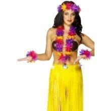 e5fe01e9e1f Smiffy s Hawaiian Lei Assorted - Pack Of 3 - set hawaiian fancy dress 4  piece multicoloured beach party costume smiffys accessory ladies lei garland