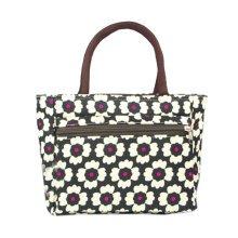 Ladies Fashionable Flowers Printed Tote Bag Zipper Purse Handbag Black