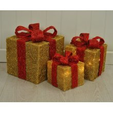 3 x Gold LED Battery Powered Light Up Glitter Sparkle Christmas Present Boxes Parcel