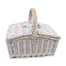 Small White Double Lidded Hamper Wicker Basket