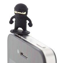3 Pcs 3.5mm Cell Phone Universal Dust Plug Cartoon Ear Cap BLACK Ninja