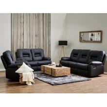 Black Faux Leather Living Room Furniture Set BERGEN