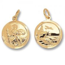 Childrens 9ct Gold Round Double Sided St Christopher Pendant On A Prince of Wales Necklace