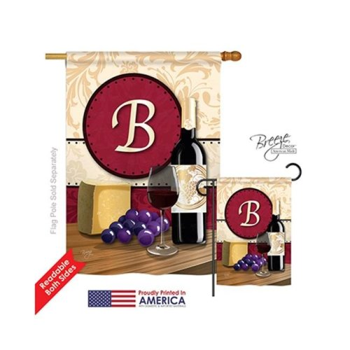 Breeze Decor 30210 Wine B Monogram 2-Sided Vertical Impression House Flag - 28 x 40 in.