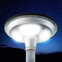 Solar Lamp Post 60 LEDs 1500 LM Motion & Dusk Till Dawn Detectors SQUARE