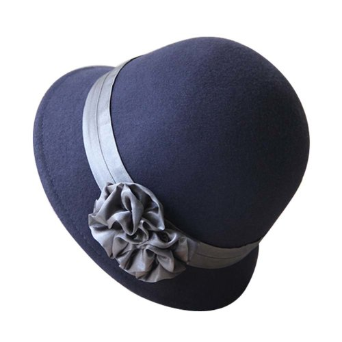 Ribbon Flower Billycock Brim Wool Felt Bucket Bowler Hat, Navy Blue