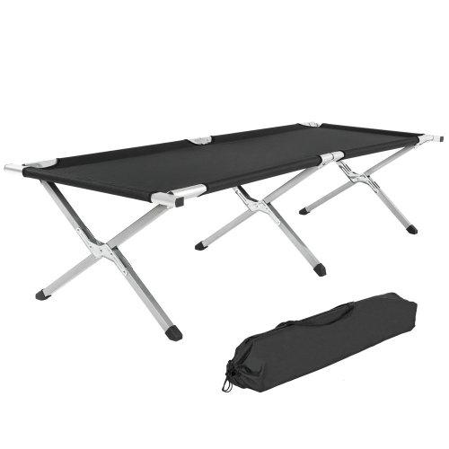2 camping beds made of aluminium black