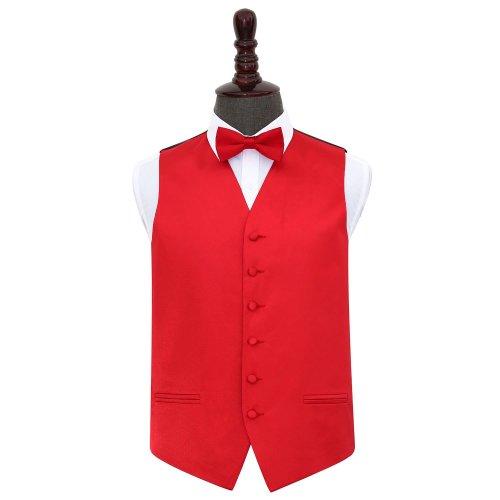 Red Plain Satin Wedding Waistcoat & Bow Tie Set 36'