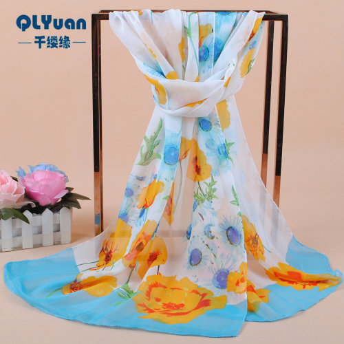 160 50cm Flowers Print Floral Fashion Scarf X300
