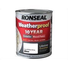 Ronseal 10 Year Weatherproof Exterior Wood Paint 750ml - GLOSS Pure Brilliant White