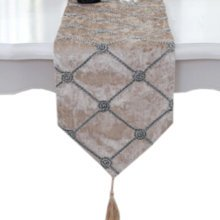 Home Decor Table Runner Luxury Bed Runner Tea Table Cloth, 11*83 Inch, Beige