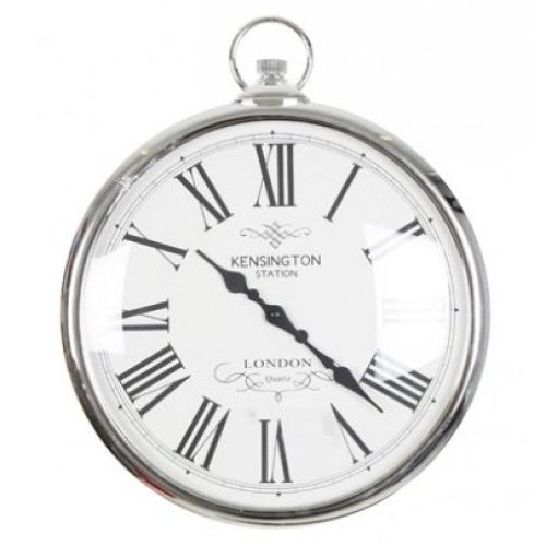 Silver Pocket Watch Clock Kensignton Station Large Wall Clock 42cm