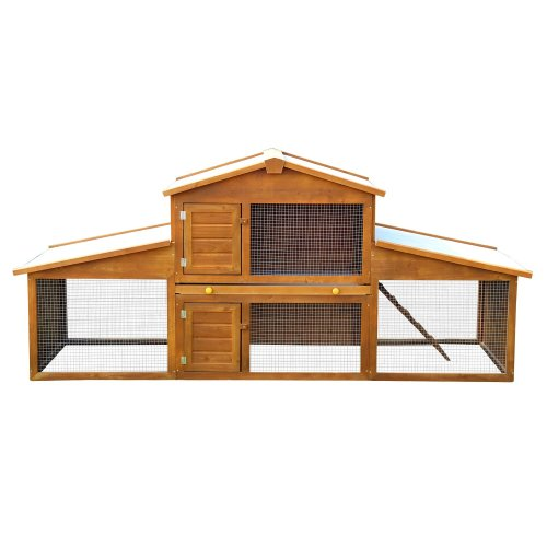 PawHut Large Rabbit Hutch & Run | Wooden Small Pet House With Run