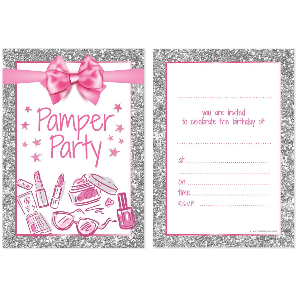 Olivia Samuel Pamper Party Invitations