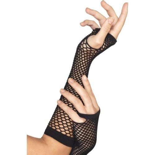 Smiffy's Fishnet Gloves - Black, Long -  gloves fishnet black fancy dress long smiffys 1980s adult womens