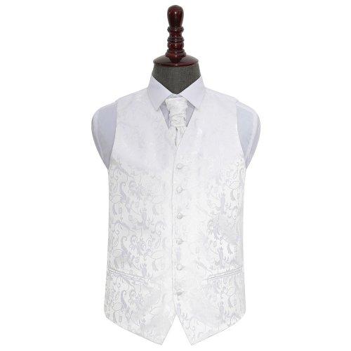 White Floral Wedding Waistcoat & Cravat Set 42'