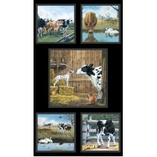 Farm Life Cows Calfs Calves 100% Cotton Quilting Fabric Panels or Wall Hanging