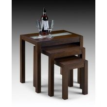 Broze Wenge Nest of Tables with Stylish Glass Inset