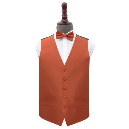 Rust Shantung Wedding Waistcoat & Bow Tie Set 44'