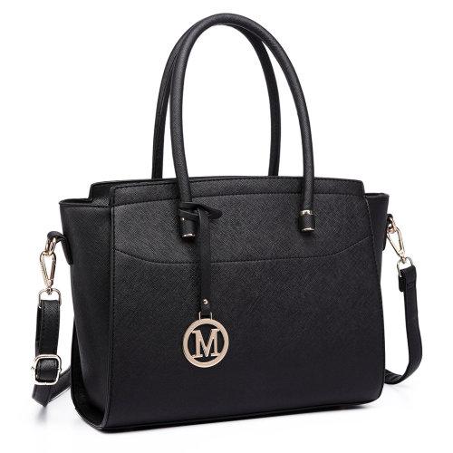 Miss Lulu Women Handbag Leather Shoulder Bag Tote Black