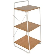 FINSBURY - Metal Frame Office 3 Tier Shelves - White / Oak